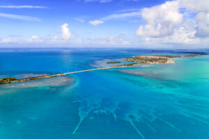 Aerial view of the Overseas Highway going over the Florida Keys