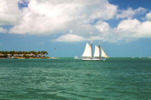 Sail boat of the coast of Key West Florida