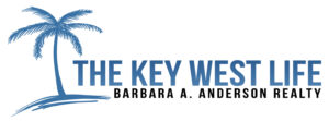 The Key West Life Logo. Blue text with a blue palm tree.